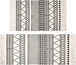 HEBE Cotton Area Rugs Set of 2 Piece 4.2'x2'+3'x2' Machine Washable Black and Cream Cotton Tassel Rugs Woven Cotton Runner...