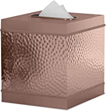 nu steel HSC9H Square Metal Paper Facial Tissue Box Cover Holder for Bathroom Vanity Countertops, Bedroom Dressers, Nightstands, Desks and Tables Copper Finish