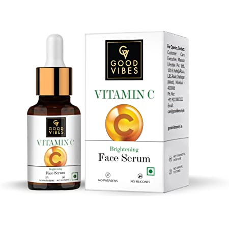 Good Vibes Brightening Vitamin C Face Serum For Glowing Skin, 10 ml Light Weight Absorbs Quickly Moisturizing Serum For All Skin Types, Helps Reduces Dark Spots & Pigmentation Naturally, No Parabens & Sulphates, No Animal Testing