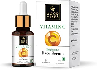 Good Vibes Brightening Vitamin C Face Serum For Glowing Skin, 10 ml Light Weight Absorbs Quickly Moisturizing Serum For Al...