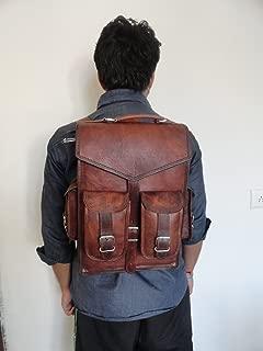 { Shreenath Enterprises } &apos 15Mens Vintage Leather Laptop Backpack Shoulder Messenger Bag Mochila Sling for 2en 1Purpose