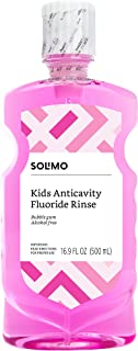 Amazon Brand - Solimo Kids Anticavity Fluoride Rinse, Alcohol Free, Bubble Gum, 500mL, 16.9 Fluid Ounces, Pack of 1