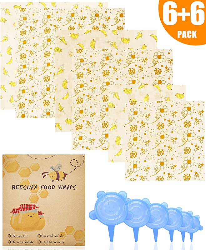 ARCBLD Beeswax Wraps And Silicone Stretch Lids Eco Friendly Sustainable Reusable Durable BPA Free Cover For Fruits Vegetables And Bowls To Keep Fresh 6 Pack Food Wraps 6 Pack Silicone Lids