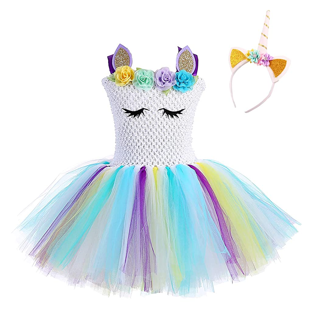 Unicorn Costumes for Girls Halloween Flower Tulle Dresses with Headband ccd9966063