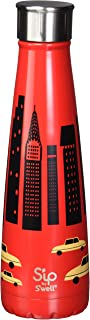 S'ip by S'well 200715620 15oz Big Apple Red Stainless Steel Bottle (Renewed)