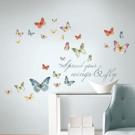 Lisa Audit Butterfly Quote Peel and Stick Wall Decals