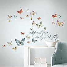 RoomMates RMK3263SCS Lisa Audit - calcomanía decorativo para pared, diseño de mariposa, multicolor