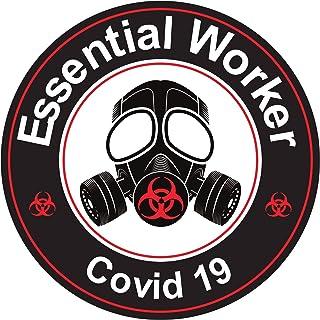 Martloop Essential Worker Sticker Hard Hat Decals - 10 PACK - Hardhat Nuclear RED Toxic Hazard Stickers - 2 inch round (10)