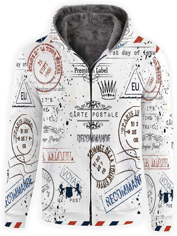 IPrint Men's Hoodies Full Zipper Hooded Sweatshirt Vintage