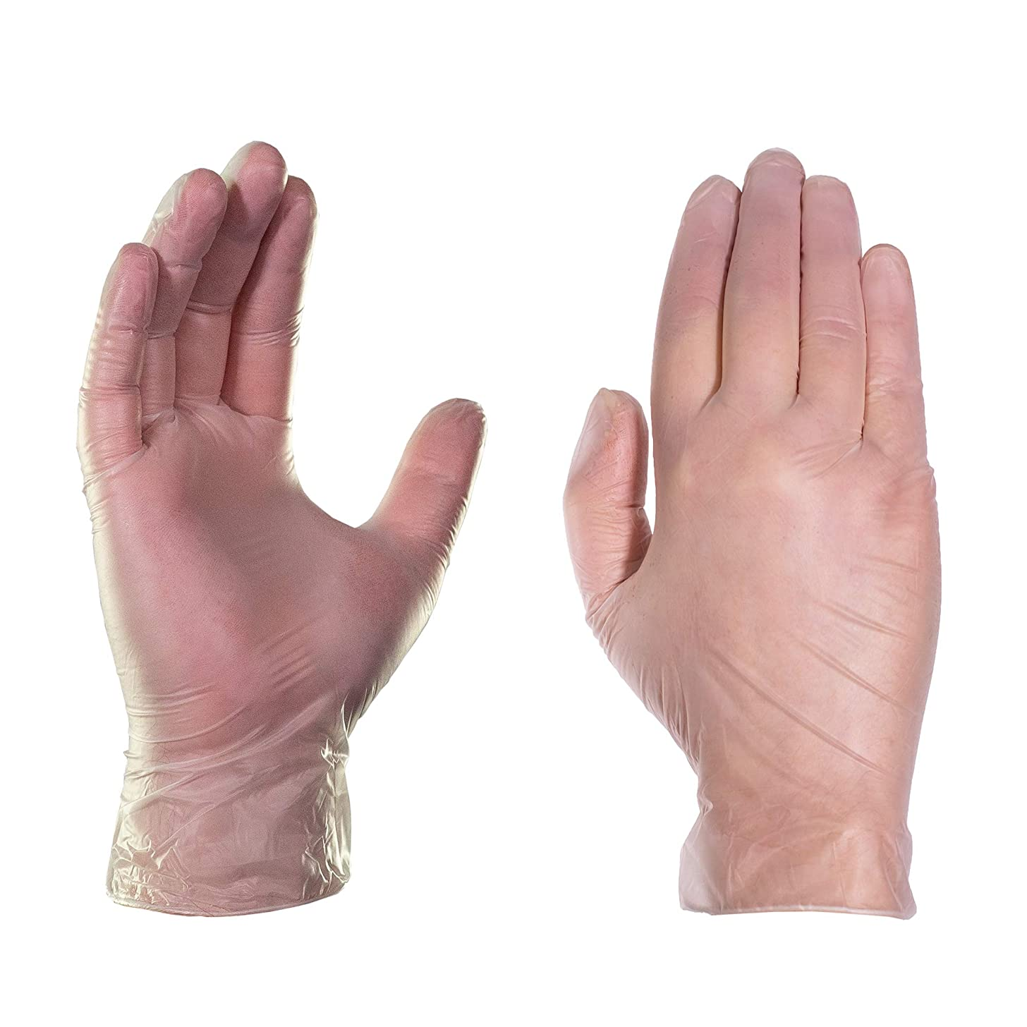 AMMEX Clear Vinyl 4 Mil Disposable Gloves - Powder-Free, Non-Sterile, Food Safe, Latex Free, Small, Box of 100
