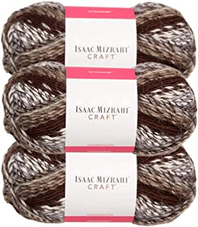 Premier Yarns (3 Pack Isaac Mizrahi NY Skyscraper Acrylic Soft Chrysler Brown Beige White Yarn for Knitting Crocheting #5 Bulky