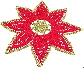 Centrino stella rosso e oro per Natale in cotone all'uncinetto - Dimensioni: ø 35 cm - Handmade - ITALY
