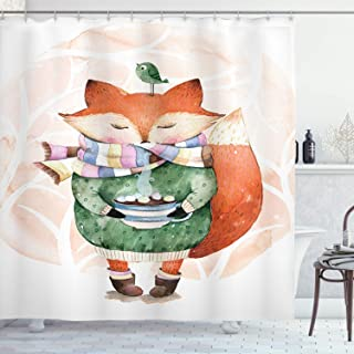 Ambesonne Animal Shower Curtain, Little Fox and Bird on His Head Tea Time Kids Nursery Friends Baby Theme, Cloth Fabric Bathroom Decor Set with Hooks, 70