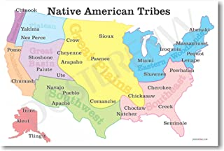 Native American Tribes Map - US History Classroom School Poster by PosterEnvy