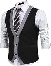 JINIDU Men's Layered V-Neck Patchwork Slim Fit Business Suit Vest Waistcoat