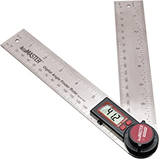 Calculated Industries 7455 AccuMASTER Digital Protractor Angle Finder Ruler for Crown, Trim, Woodworking   7 Inch Stainless Steel Blade   Hold and Zero Function   Includes Battery, Protective Case