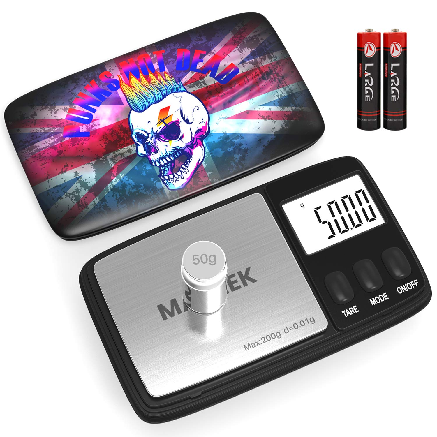 Gram Scale, Scales Digital Weight Grams 200 X 0.01g with 50g Weight Calibration, Digital Scale Grams and Ounces 6 Units Conversion, Precision Pocket Scale, Auto-Off, Tare Function (Battery Included)