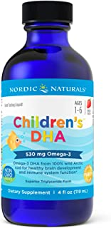 Nordic Naturals Children's DHA, Strawberry - 4 oz - 530 mg Omega-3 with EPA & DHA - Brain Development & Function - Non-GMO...