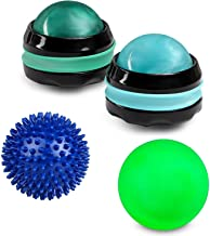 Manual Massage Roller Ball - Pain Relief Back Roller Massager Self Massage Therapy Neck Hand Leg Back Rejuvenation - Use with Essential Oils and Lotions - Roller Ball Set Spikey and Lacrosse Ball