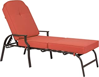 Best Choice Products Outdoor Chaise Lounge Chair W/ Cushion Pool Patio Furniture Rustic Red