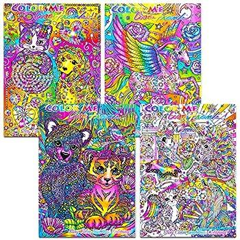 Lisa Frank Adult Coloring Book Set -- 4 Premium Lisa Frank Coloring and Activity Books for Adults