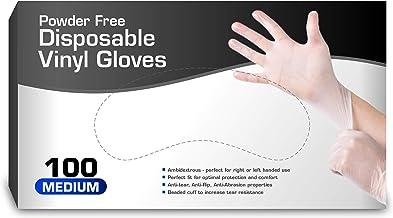 Vinyl Gloves, Disposable Gloves, Comfortable, Powder Free, Latex Free   100 Pcs Medium