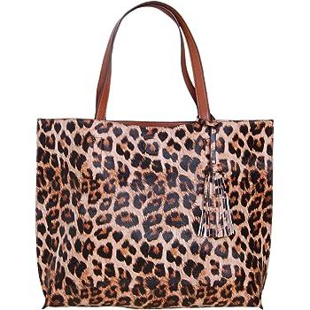 Large Snake Pattern Designer Tote Shoulder Work Bag in Dark Brown