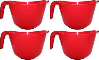 Set of 4 Black Duck Brand Classic Plastic 3 QT Mixing Bowls with Handle and Spout! 4 Assorted Colors! (Set of 4 Red)