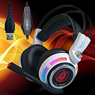 Dinly USB Gaming Headset with Mic, Virtual 7.1 Surround Sound Over Ear Headphones with Volume Control & Noice Cancelling for Playstation 4 / PC/Laptop/Mac
