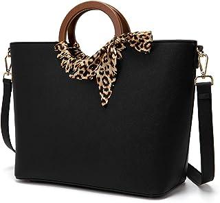 LJOSEIND Women's Tote Bags Silk Scarf Top Handle Bags Designer Handbags Purses Leopard Shoulder Bags
