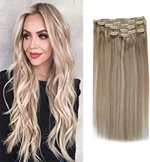 Sunny Blonde Clip in Hair Extensions Remy 20 Inch Human Hair Ash Blonde Highlighted With Light Blonde Extensions Clip in Remy Hair Double Weft Full Head 7pcs 120g/set
