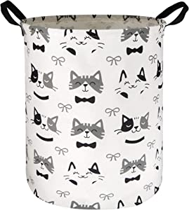 HIYAGON Large Storage Baskets,Waterproof Laundry Baskets,Collapsible Canvas Basket for Storage Bin for Kids Room,Toy Organizer,Home Decor,Baby Hamper(Bowknot Cat )