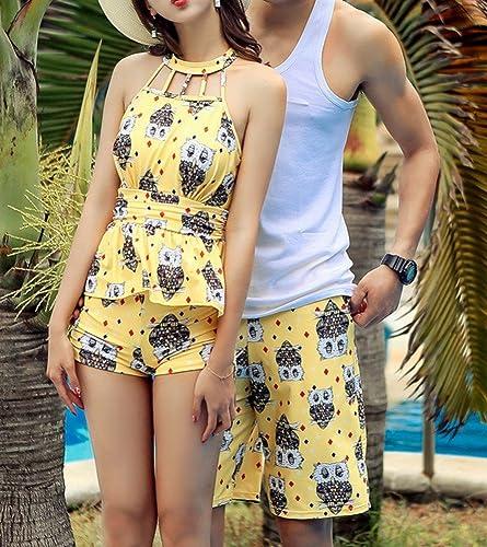 HOMEE Split Maillot de Bain Conservateur Boxer sous-vêteHommests Couple modèles Hot Spbague Maillot de Bain,Jaune,L