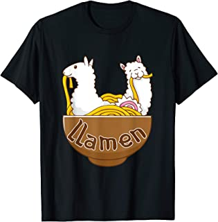 Llamen T-Shirt Japanese Ramen Noodles Kawaii Llama Alpaca
