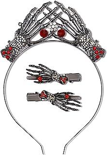 PHALIN Halloween Headbands for Women Girls Gothic Skeleton Claw Hairband Spooky Skull Hand Hair Hoop (A Red+Black)