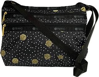 LeSportsac Black Sand Quinn Crossbody Handbag, Style 3352/Color F196, Black/White Polka Dots & Metallic Glitter Gold Circles