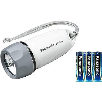 パナソニック LED懐中電灯 防水ライト 乾電池エボルタNEO付き ホワイト BF-SG01N-W