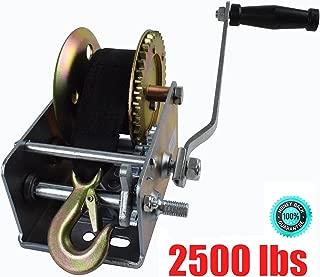 M-online 2500lbs Nylon Strap 2 Gear Hand Winch Hand Crank Gear Winch for ATV Boat Trailer