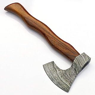JNR Traders Handmade Damascus Steel Axe Hatchet Tomahawk Knife 11.00 Inches Axe Rose Wood Handle vk2236