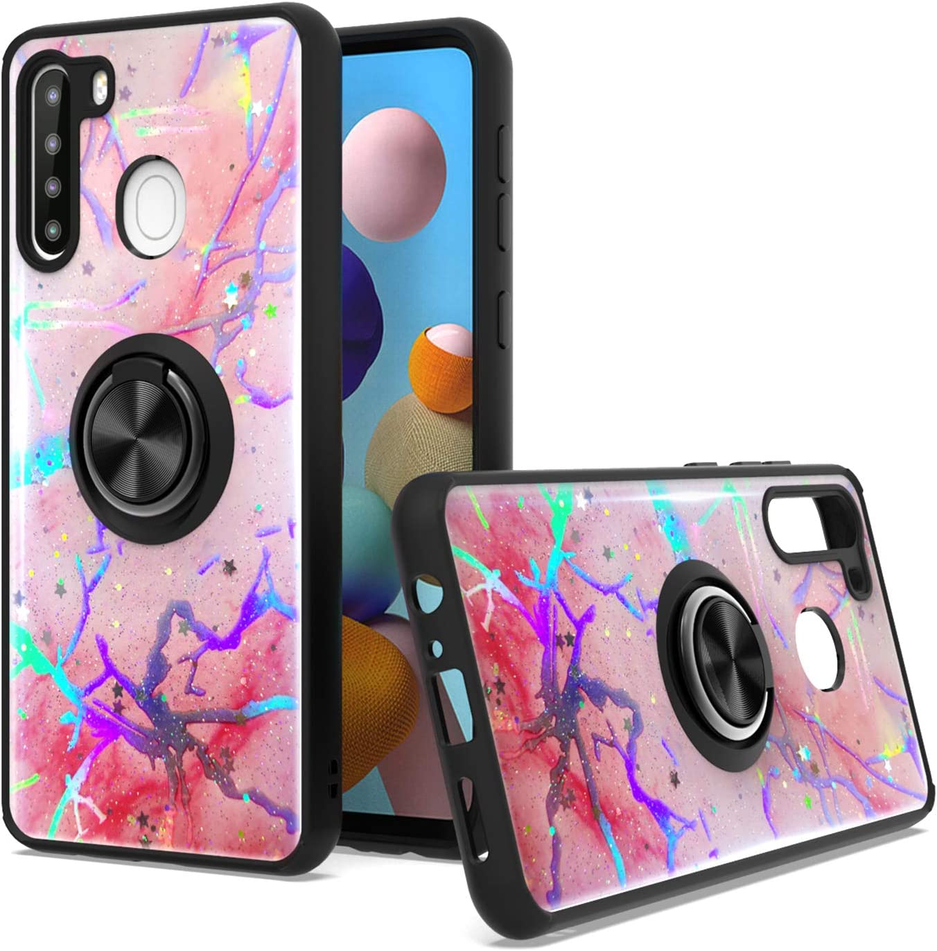 KWEICASE Cell Phone Case for Samsung Galaxy A21, Samsung A21 Case Soft Bumper Heavy Duty Hybrid Glitter Shockproof Protective Cover Case with Magnetic Ring Kickstand Holder, Pink Marble
