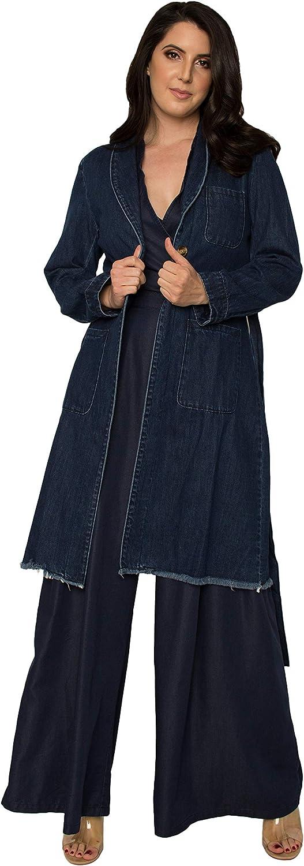 Standards & Practices Women's Denim Robe Long Sleeves Collared Jacket