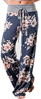 iChunhua Women's Comfy Stretch Floral Print Drawstring Palazzo Wide Leg Lounge Pant