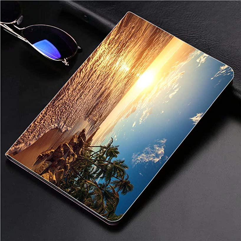 Compatible with 3D Printed iPad Pro 10.5 Case Palm Trees on The Tropical Beach 360 Degree Swivel Mount Cover for Automatic Sleep Wake up ipad case