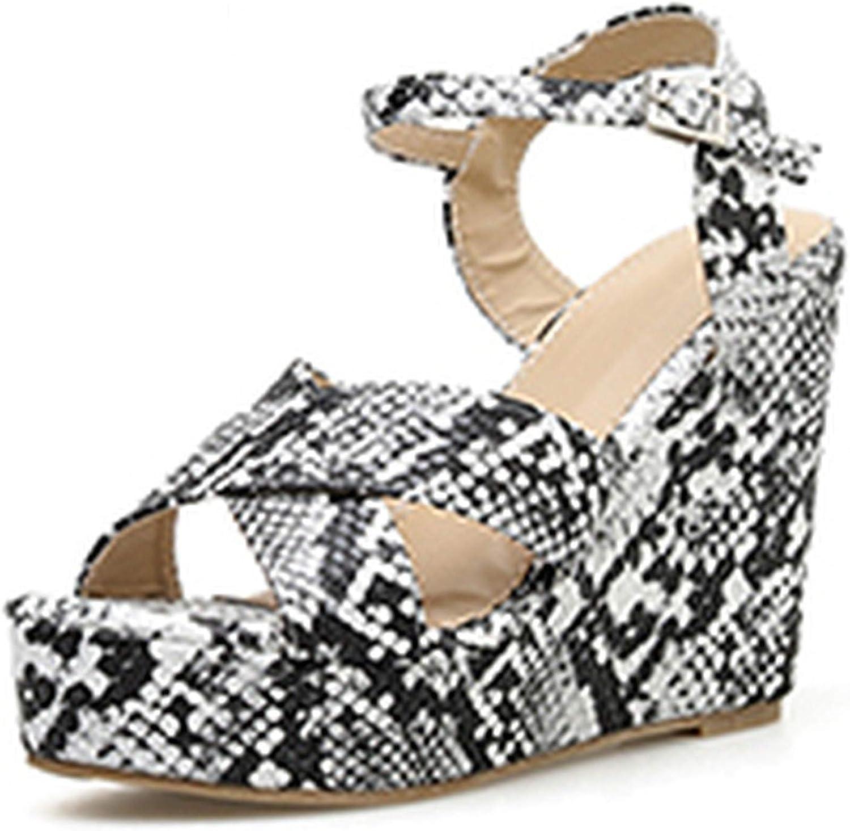 HuangKang Summer Wedges Buckle Strap Super High Heel Leopard Platform shoes Sexy Peep Toe Gladiator Casual Sandals