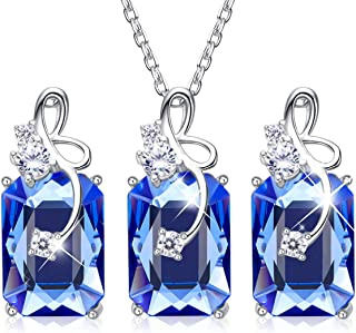 CDE Jewelry Set 925 Sterling Silver Embellished with Crystals from Swarovski Sapphire Fine Necklace Earrings Sets Gift for Mothers Day (Life Companion)