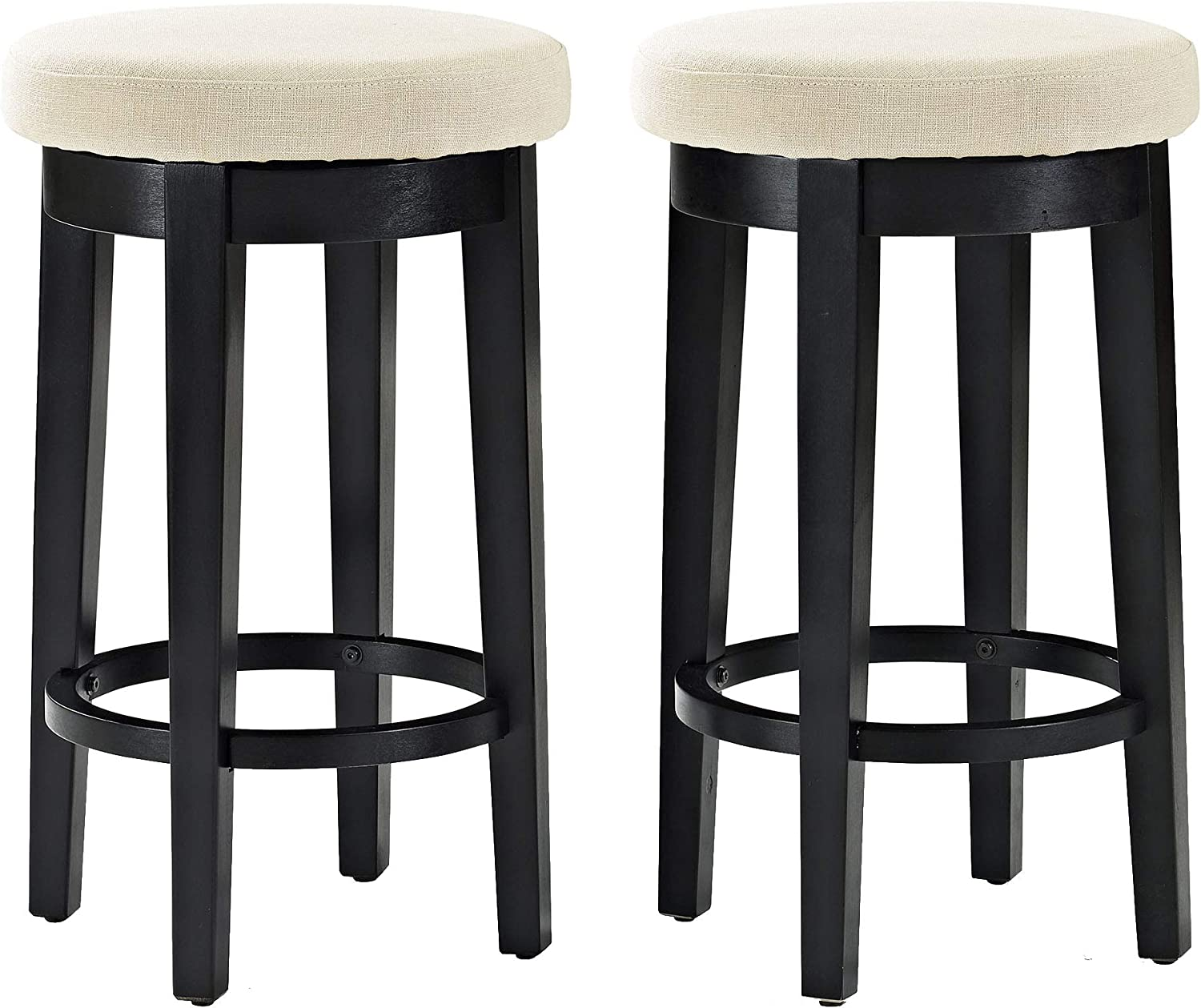 Crosley Furniture CF522026BK-CR Mitchell Swivel Counter Stool (Set of 2), 26-inch, Black with Crème Cushion
