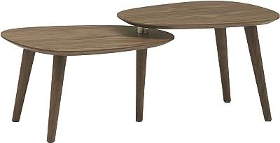 Marque Amazon -Rivet Allyson - Table basse réglable à deux étagères style vintage, Noyer