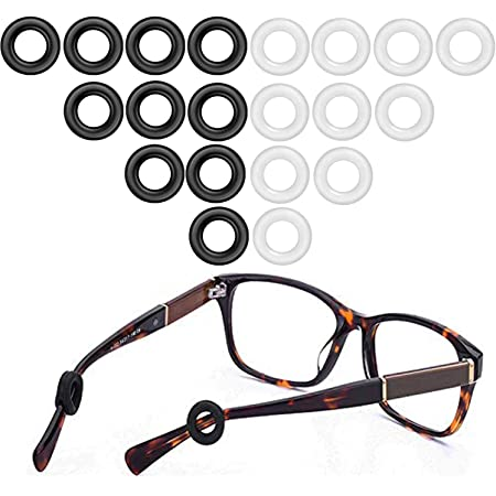 Glasses Temple Holder,Silicone Anti-Slip Round Glasses Temple Tips /& Ear Grip Hooks for Kid Adult Spectacle Sunglasses Reading Glasses,Black 10 Pairs Eyeglasses Retainers