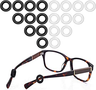 MOLDERP Eyeglasses Temple Tips Eyewear Retainer, glasses Retainers, 10 Pairs (Black,Clear)