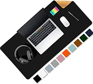 """Aothia Eco-Friendly Natural Cork & Leather Double-Sided Office Desk Mat & Mate Mouse Pad Smooth Surface Soft Easy Clean Waterproof PU Leather Desk Protector for Office/Home Game (Black,31.5"""" x 15.7"""")"""